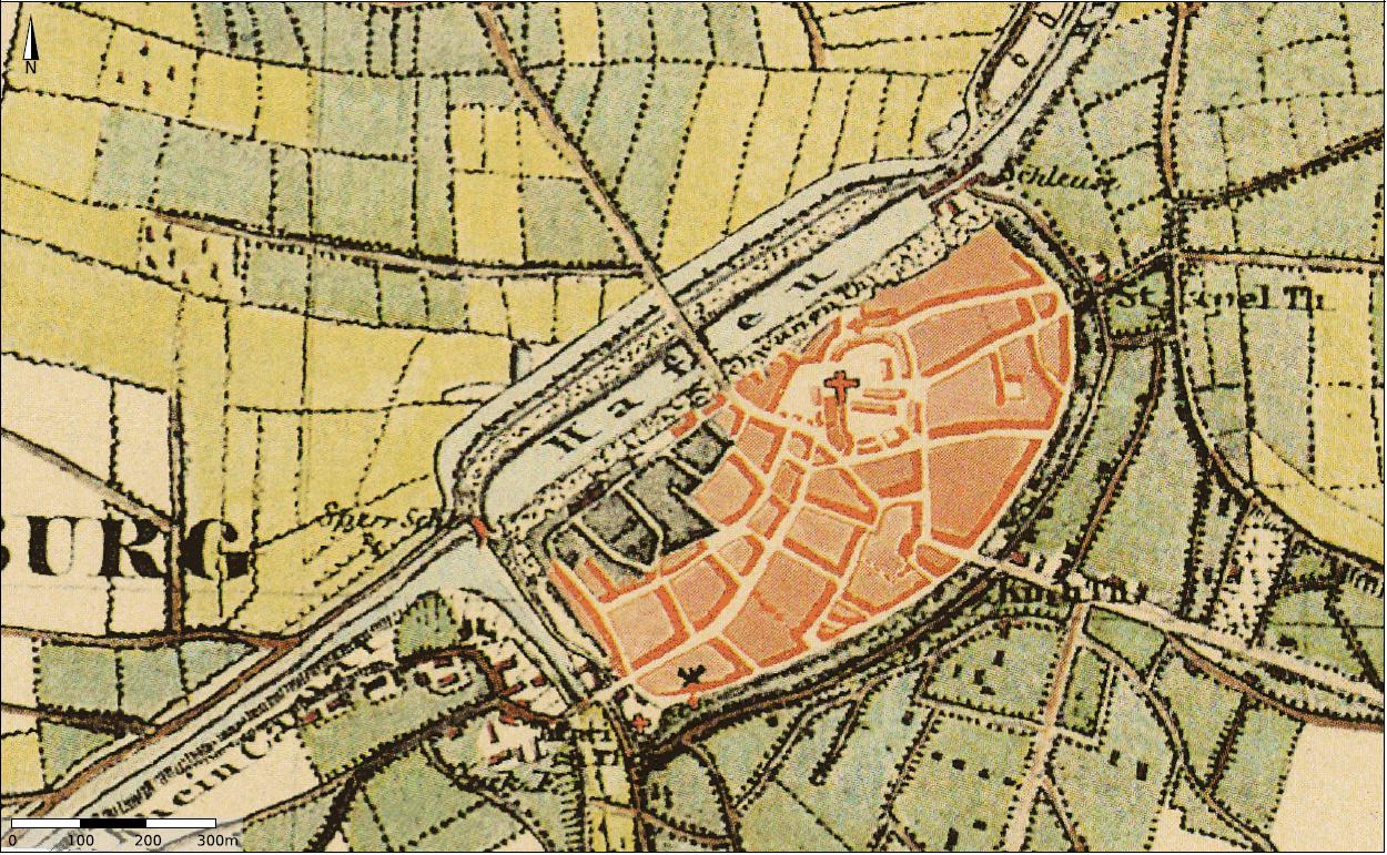 Preußische Kartenaufnahme 1836-1850 von Duisburg