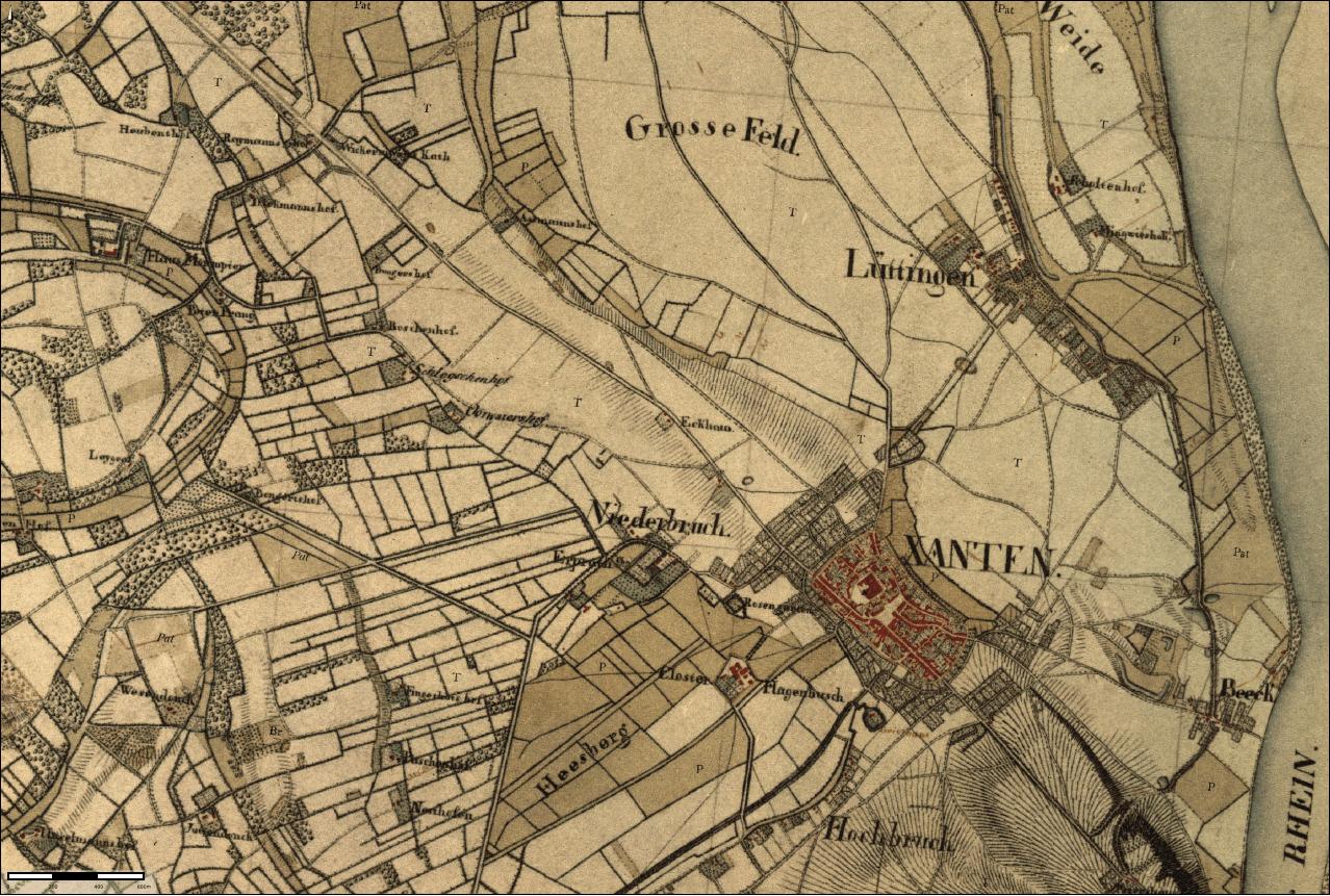 Stadt Xanten - Kartenaufnahme der Rheinlande (1802-1828)